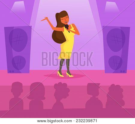 Karaoke. Vector. Cartoon. Isolated Art Flat Woman Sing Song