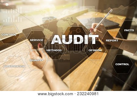 Audit Business Concept Auditor. Compliance. Virtual Screen Technology