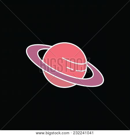Saturn Planet Icon. Cartoon Saturn Planet Vector Icon For Web Design Isolated On Black Background