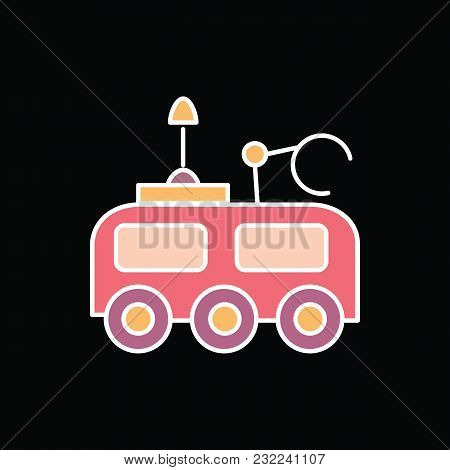 Moon Rover Icon. Cartoon Moon Rover Vector Icon For Web Design Isolated On Black Background
