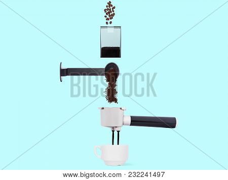 Process Of Making Of Coffee In The Schematic Style. Coffee Beans, Ground Coffee And Jets Fall Into A