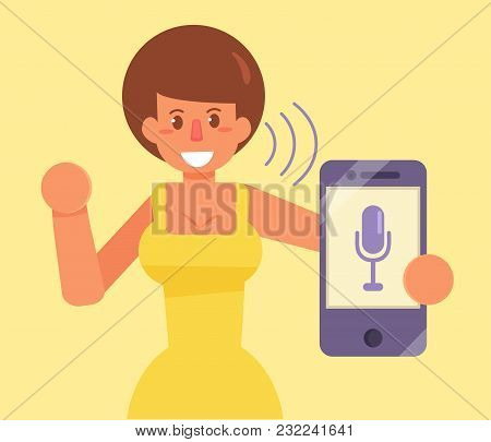 Smartphone. Voice Control. Command. Vector Cartoon Isolated Art Flat