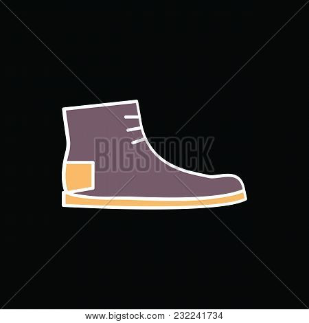 Boot Icon. Cartoon Retro Boot Vector Icon For Web Design Isolated On Black Background
