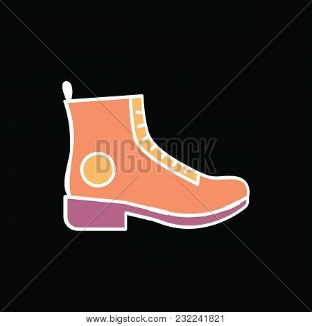Boot Icon. Cartoon Hikki Boot Vector Icon For Web Design Isolated On Black Background