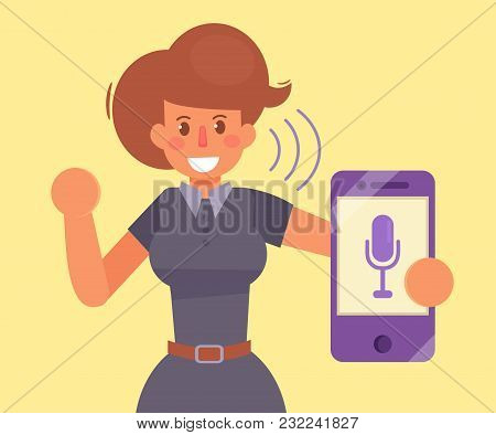 Woman, Smartphone, Voice Command Vector Cartoon Isolated