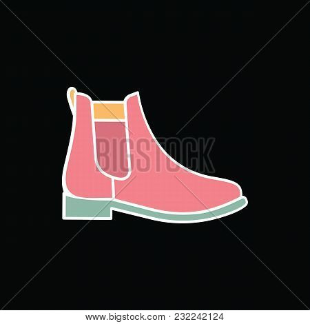 Boot Icon. Cartoon Boot Vector Icon For Web Design Isolated On Black Background