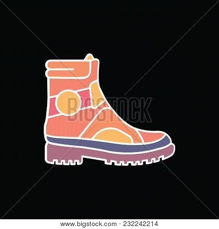 Boot Icon. Cartoon Military Boot Vector Icon For Web Design Isolated On Black Background