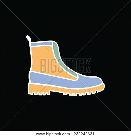 Boot Icon. Cartoon Male Boot Vector Icon For Web Design Isolated On Black Background