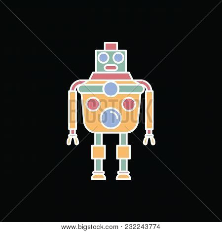 Robot Icon. Cartoon Science Robot Vector Icon For Web Design Isolated On Black Background