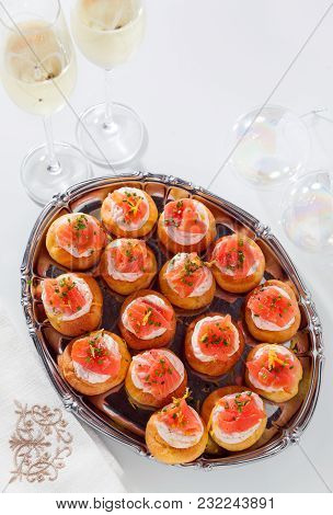 Salmon And Creamcheese Puffs . Pastries  And Champagne. Holiday Snack Catering. Profiteroles Or Cana