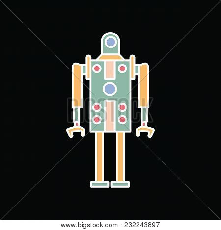 Robot Icon. Cartoon Technology Robot Vector Icon For Web Design Isolated On Black Background
