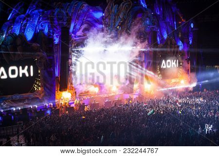 Cluj-Napoca, Romania - August 6, 2017: Aoki, an American electro house musician, record producer and DJ performing on stage at Untold Festival, the Best Major Music Festival of Europe