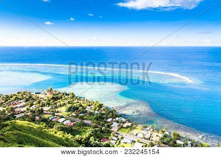 Moorea Island In The French Polynesia. Paradise Beach.