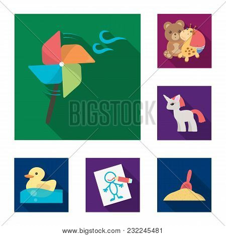 Children Toy Flat Icons In Set Collection For Design. Game And Bauble Vector Symbol Stock Illustrati