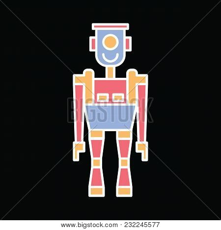 Robot Icon. Cartoon Smart Robot Vector Icon For Web Design Isolated On Black Background
