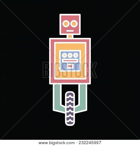 Robot Icon. Cartoon Funny Robot Vector Icon For Web Design Isolated On Black Background