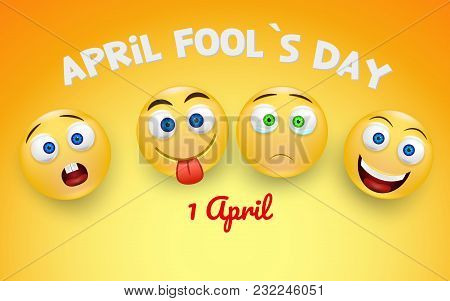 April Fools Day Card With Happy And Sad Face Emojis Over Bright Background. 1 April. Colorful Desing