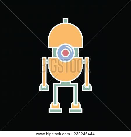 Robot Icon. Cartoon Robot Vector Icon For Web Design Isolated On Black Background