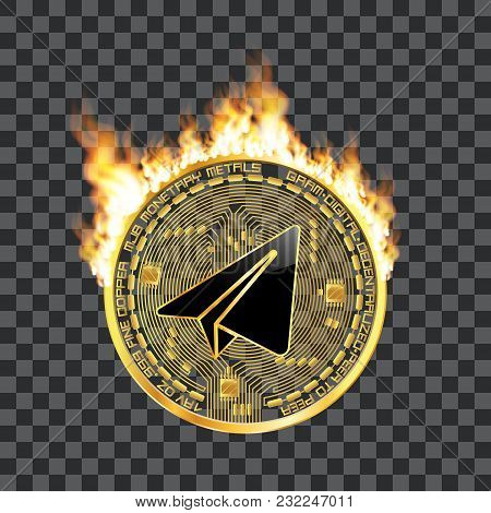Crypto Currency Golden Coin With Black Lackered Gram Symbol On Obverse Surrounded By Realistic Flame