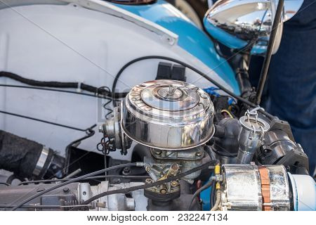 Beit Nir, Israel - March 17, 2018: Engine Of Citroen 2cv Presented On Oldtimer Car Show, Israel