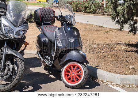 Beit Nir, Israel - March 17, 2018: Vintage Black Vespa Scooter Presented On Oldtimer Car Show, Israe