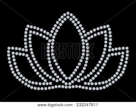 3d Illustration Closeup Diamond Lotus On A Black Background