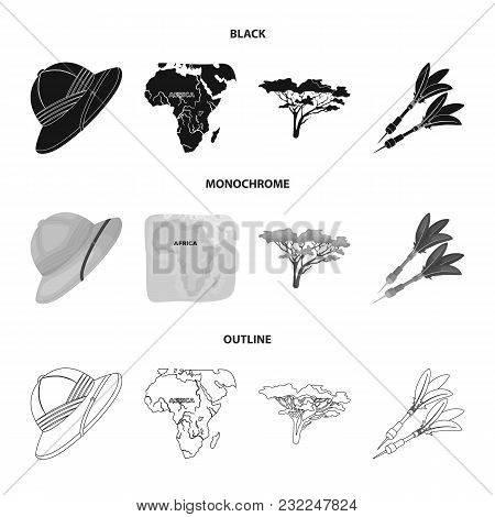Cork Hat, Darts, Savannah Tree, Territory Map. African Safari Set Collection Icons In Black, Monochr