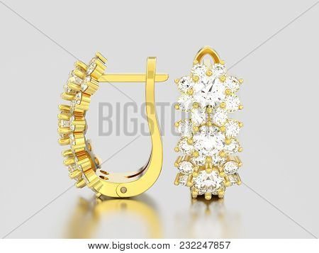 3d Illustration Isolated Yellow Gold Diamond Earrings With Hinged Lock On A Gray Background