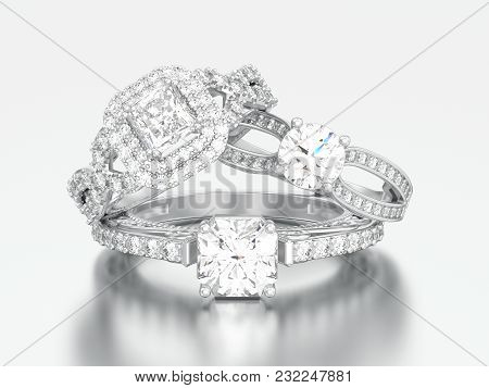 3d Illustration Three Different White Gold Or Silver Decorative Engagement Diamond Rings On A Gray B