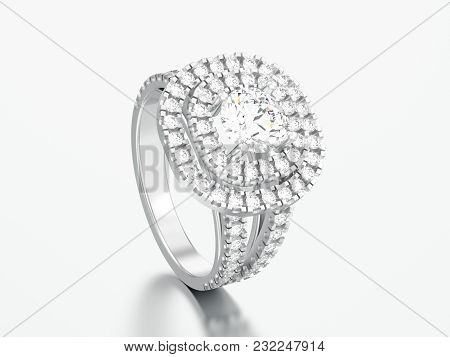 3d Illustration White Gold Or Silver Elegant Solitaire Decorative Diamond Ring On A Gray Background