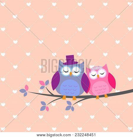 Couple Owls In Love.vector Wedding Card, Illustration