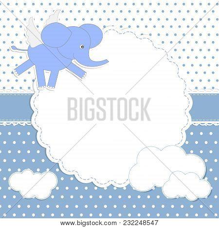 Cute Baby Boy Card With Elephant-angel. Vector Card