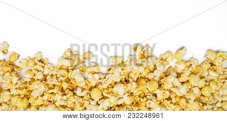 Shot Of A Striped Popcorn Isolated On White Background.  Ideal For Websites And Magazines Layouts