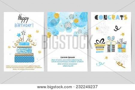 Happy Birthday Cards Set In Blue And Golden Colors. Celebration Vector Templates With Birthday Cake