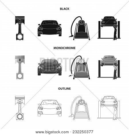 Car On Lift, Piston And Pump Black, Monochrome, Outline Icons In Set Collection For Design.car Maint
