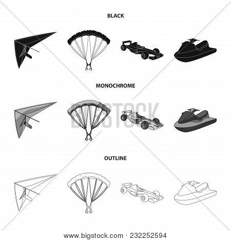 Hang Glider, Parachute, Racing Car, Water Scooter.extreme Sport Set Collection Icons In Black, Monoc
