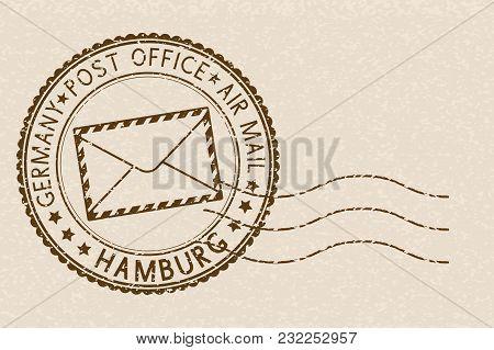 Postmark. Round Brown Stamp On Beige Background. Hamburg, Germany. Vector Illustration