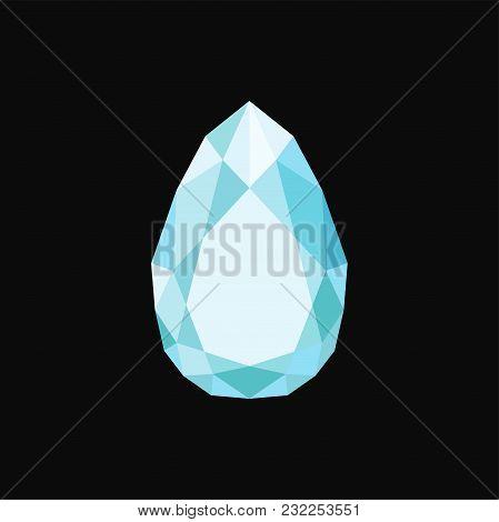 Brilliant Precious Stone, Gemstone Vector Illustration Isolated On A Black Background.