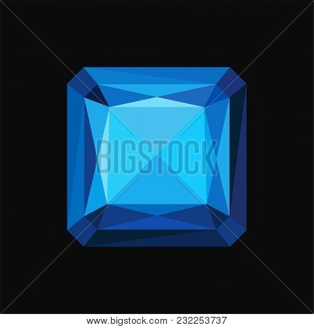 Blue Sapphire Precious Square Stone, Gemstone Vector Illustration Isolated On A Black Background.