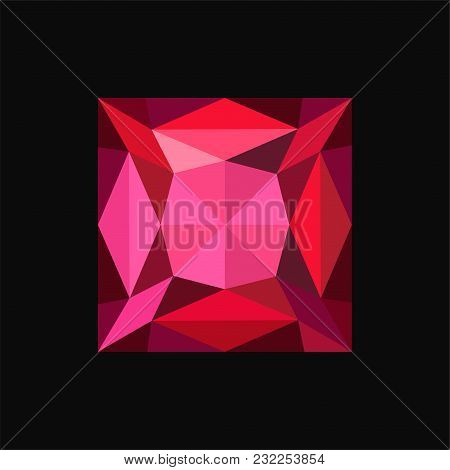 Ruby Jewerly Square Stone, Gemstone Vector Illustration Isolated On A Black Background.