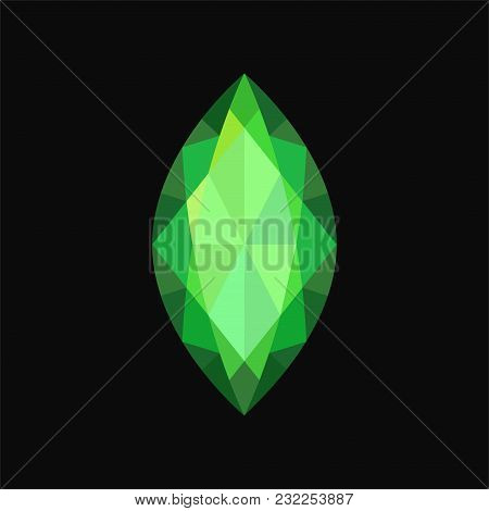 Green Jewerly Stone, Gemstone Vector Illustration Isolated On A Black Background.