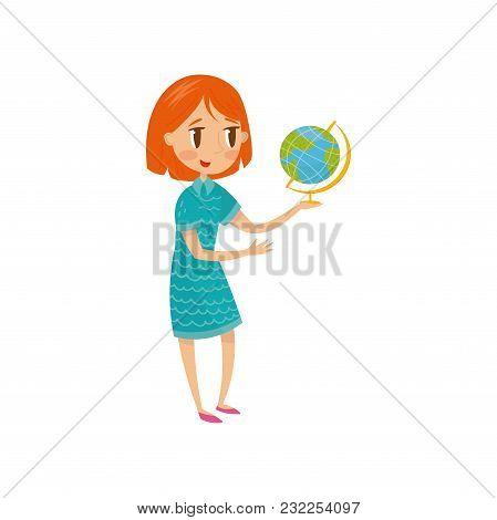 Cute Schoolgirl Wirh Globe, Preschool Activities And Early Childhood Education Concept Vector Illust