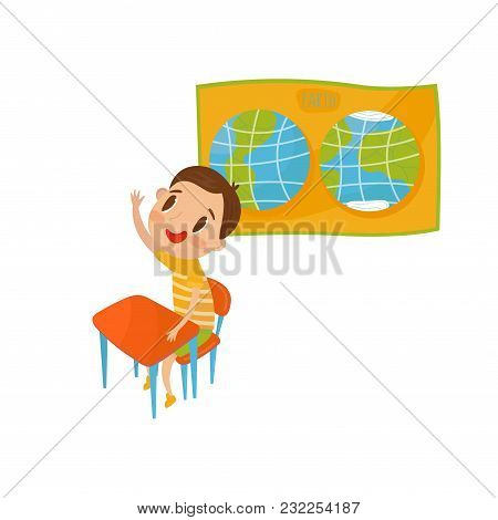 Little Boy Character Studying Geography At Lesson, Preschool Activities And Early Childhood Educatio