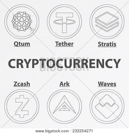 Set Of 6 Crypto Currency Lineart Icon. Linear Qtum, Tether, Stratis, Zcash, Ark And Waves Coin