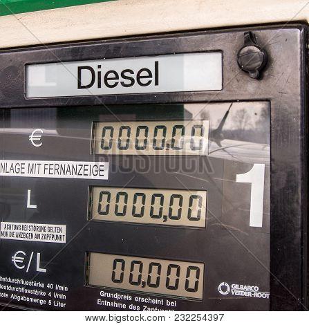 Ach,austria-mar 20,2018: Close Up View Of A Gas Pump For Diesel Fuel