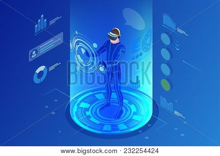 Isometric Virtual Reality Concept. Man Wearing Virtual Reality Headset. Abstract Vr World With Neon
