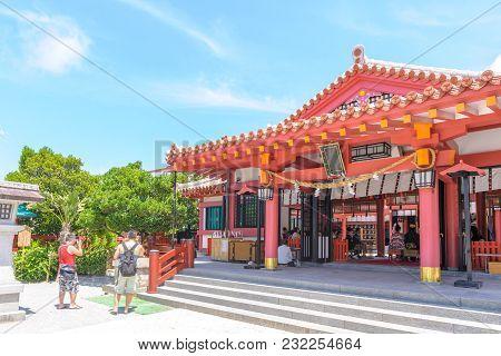 Facade View Of Naminoue Shrine In Okinawa, Japan
