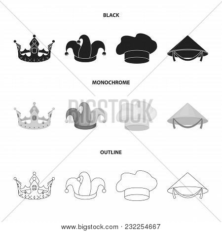 Crown, Jester Cap, Cook, Cone. Hats Set Collection Icons In Black, Monochrome, Outline Style Vector
