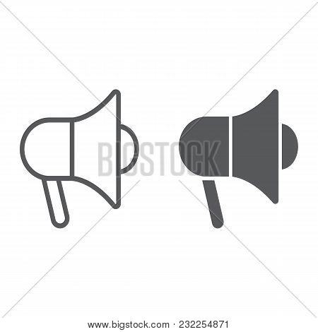 Promotion Line And Glyph Icon, E Commerce And Marketing, Megaphone Sign Vector Graphics, A Linear Pa