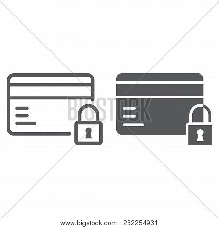 Credit Card Security Line And Glyph Icon, E Commerce And Marketing, Payment Sign Vector Graphics, A